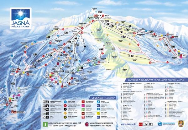 Lyžiarska mapa Chopok Jasná