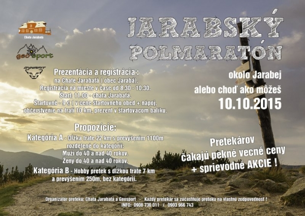Jarabský polmaratón - pozvánka 10. 10. 2015